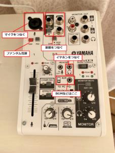 スマホと配信機材の繋ぎ方 オーディオインターフェース上部